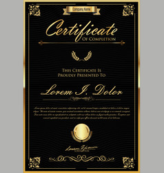 Certificate or diploma retro vintage template 10 vector
