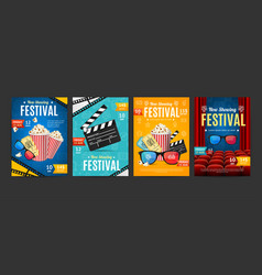 cinema placard set with realistic 3d detailed vector image