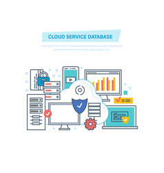 cloud service database computing network data vector image