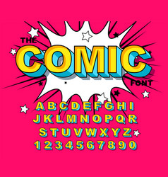 Comic alphabet retro pink letters numbers vector