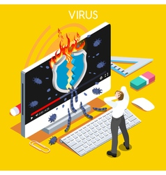 Computer Virus Isometric People vector