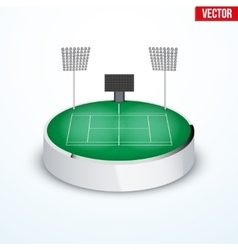 Concept of miniature round tabletop Tennis court vector