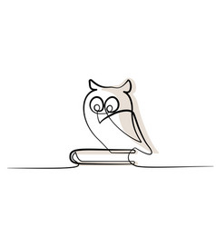 Continuous one line drawing owl sitting on book vector