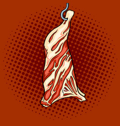 Cow beef on hook pop art vector