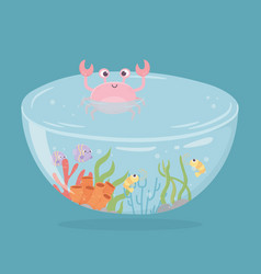 crab shrimp fishes coral water under sea cartoon vector image