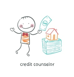 Credit counselor near a bundle of money and the vector