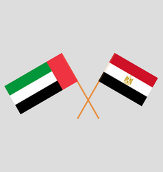Crossed flags egypt and united arab vector