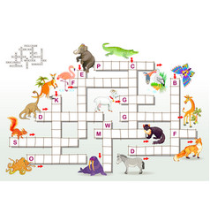 Crossword puzzle game with funny animals vector