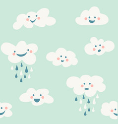 cute baby cloud pattern seamless vector image