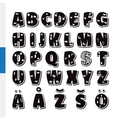 Cute funny childish finnish alphabet font vector