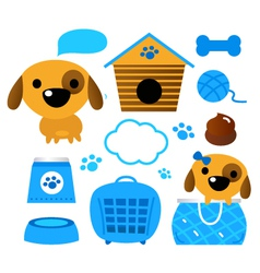 Dog accessories set isolated on white - blue vector image