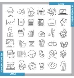 Doodle line art icons vector image