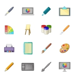 Drawing and painting tool icons set cartoon style vector