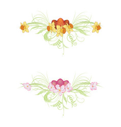 egg apple and narcissus flowers vector image