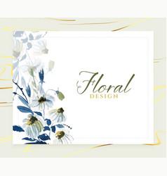 elegant watercolor blue floral card design vector image