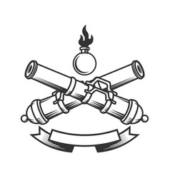 Emblem template with vintage cannons design vector