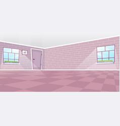 Empty dining room interior flat cartoon door and vector