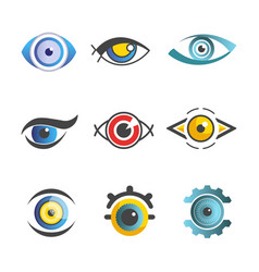 Eyes ophthalmology icons templates isolated vector