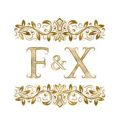 F and x vintage initials logo symbol vector