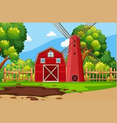 Farm scene with red barn vector