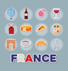 France culture card with set icons vector