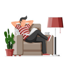 freelancer man in armchair works at home vector image