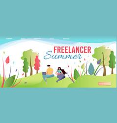 Freelancer summer landing page offer work anywhere vector