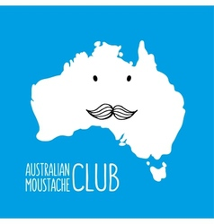 Fun moustache cartoon Australia hand drawn map vector image vector image