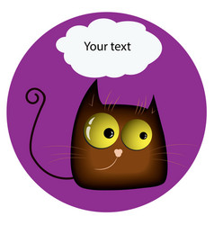 funny catwith yellow glowing realistic eyes and vector image