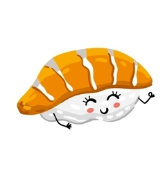 Funny sashimi sushi isolated cartoon character vector