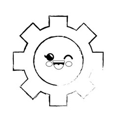 gear cartoon smiley vector image