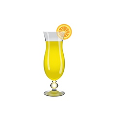 Glass drink yellow lemon vector