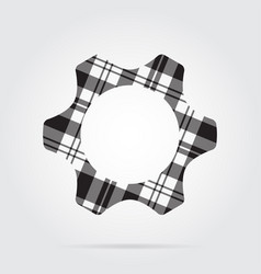 Grayscale tartan isolated icon - cogwheel vector