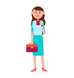 Grown-up girl with briefcase and cup coffee vector