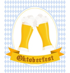 hand drawn oktoberfest poster with two flat beer vector image