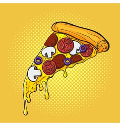 hand drawn pop art of pizza Fast food vector image
