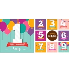 Happy birthday set of greeting cards vector