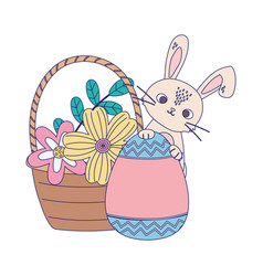 happy easter day rabbit with painted egg flowers vector image