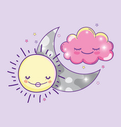 Happy sun with moon and cute fluffy cloud vector