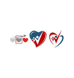 heart care template set vector image