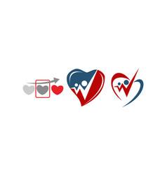 Heart care template set vector