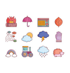 hello autumn design icons collection vector image