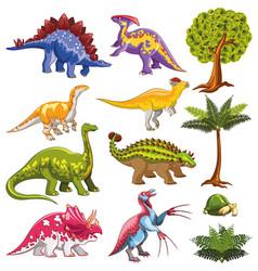 Herbivorous dinosaurs set vector