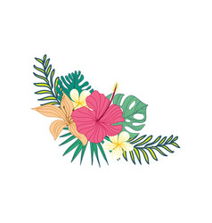 Hibiscus hand drawn tropical flower composite vector