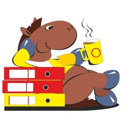 Horse businessman drinking coffee 009 vector image