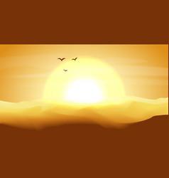 hot yellow and orange empty desert panoramic vector image