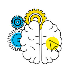 idea brain working cartoon vector image