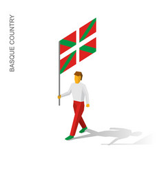 Isometric man with flag of vector