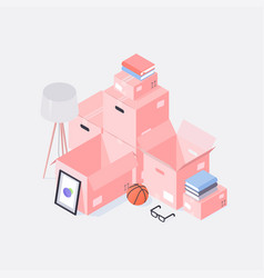 isometric moving to new house vector image