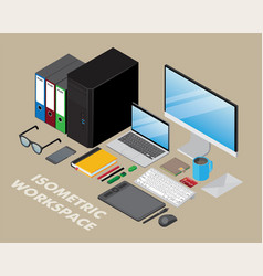isometric workspace vector image